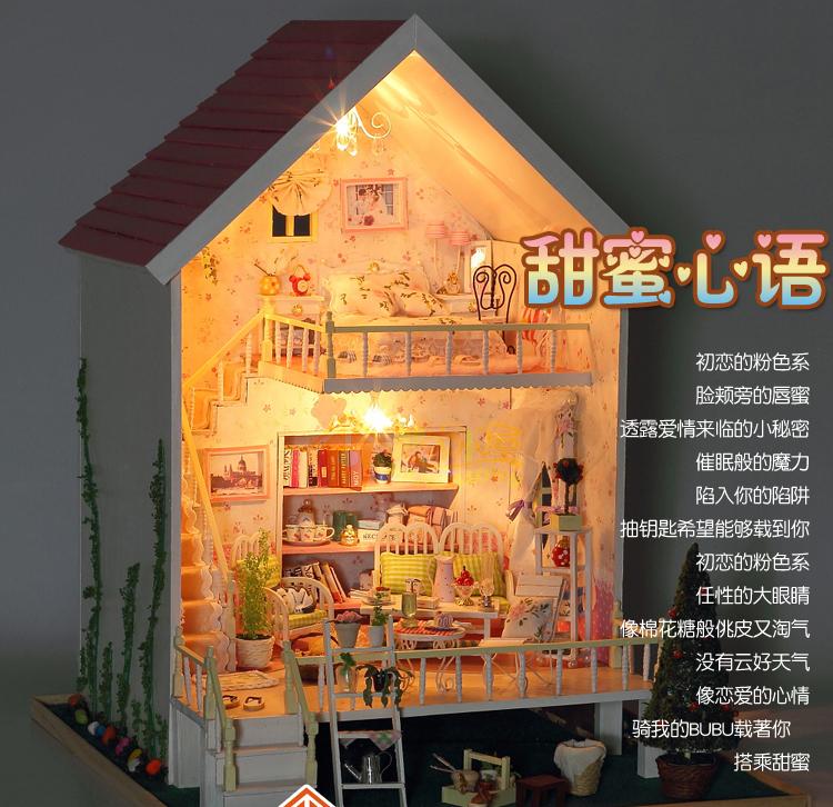 diy小房子手工模型拼装别墅粉色公主房甜蜜心语