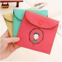 童年卫生棉包 韩版复古风童年棉麻卫生巾收纳包 卫生巾包