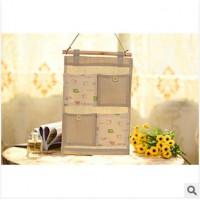 韩版家居 zakka棉麻甜美清新收纳袋 门后床头墙上4格挂袋